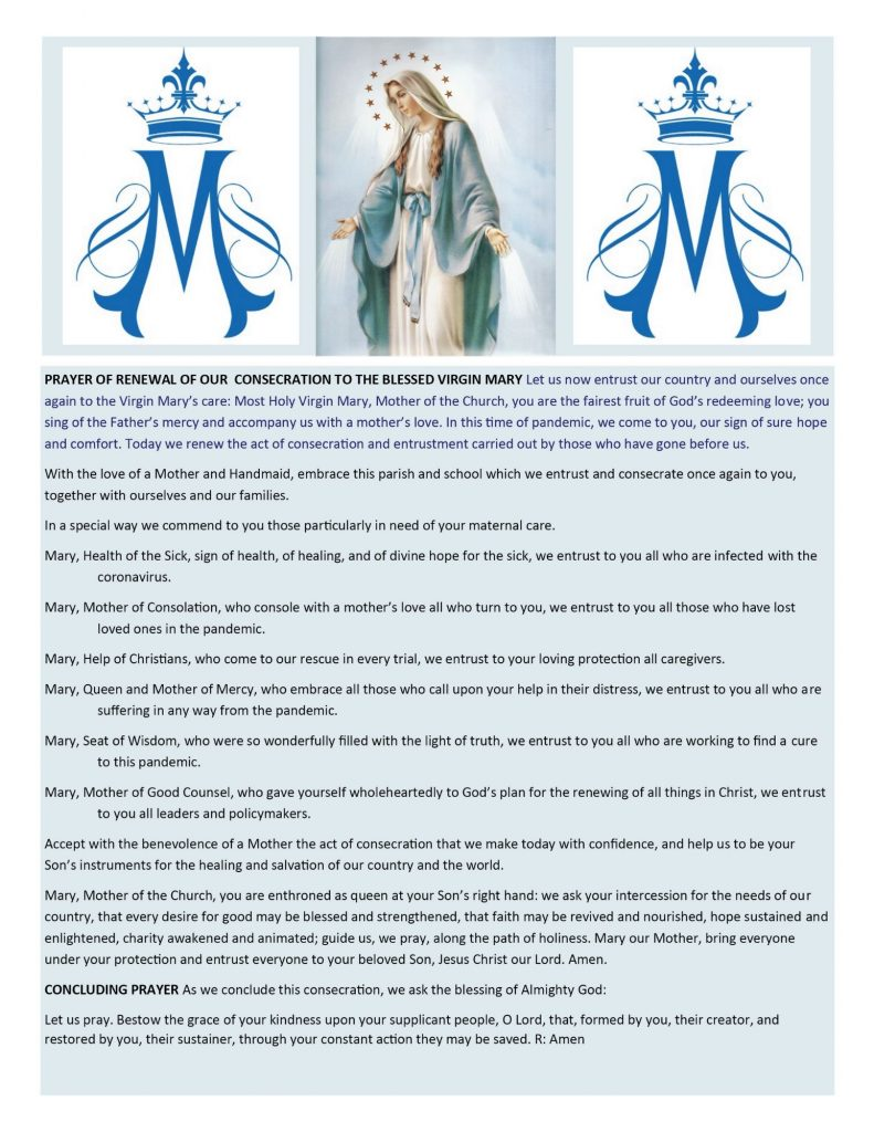 Prayer of Renewal of our Consecration to the Blessed Virgin Mary