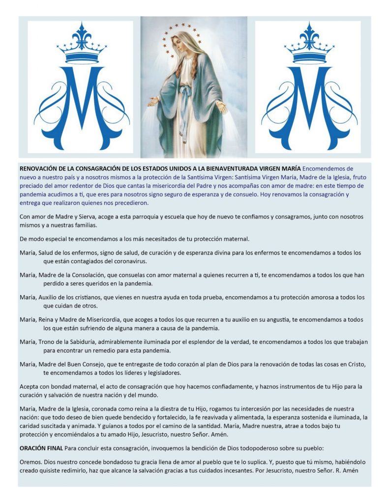 Prayer of Renewal of our Consecration to the Blessed Virgin Mary Spanish