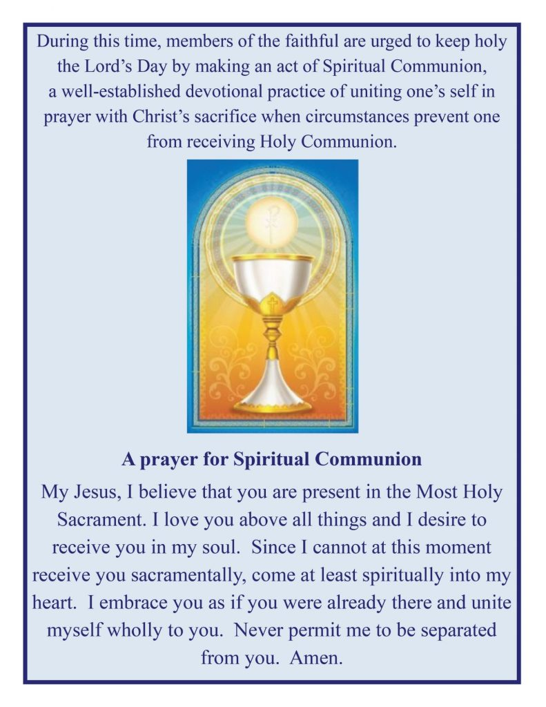 Prayer for Spiritual Communion