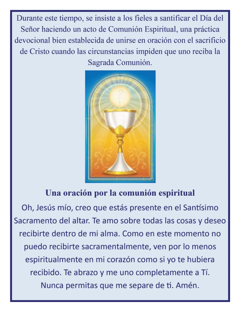 Prayer for Spiritual Communion Spanish