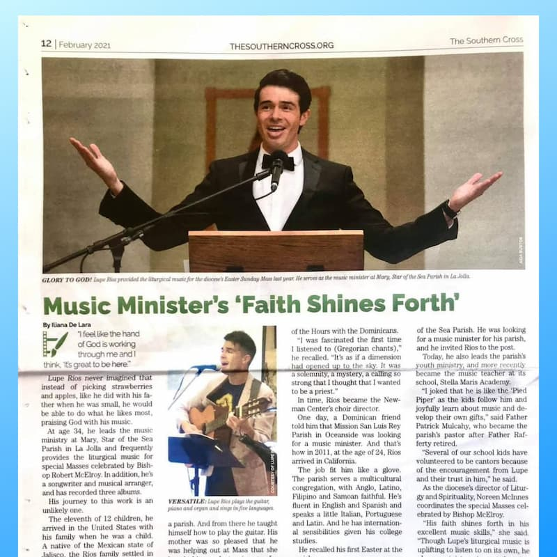 Music Director, Lupe Rios, Featured in The Southern Cross