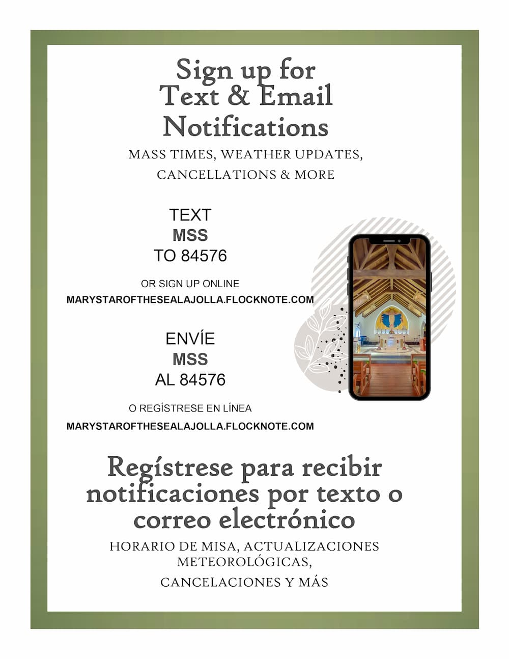 Sign up for Parish Text and Email Updates!
