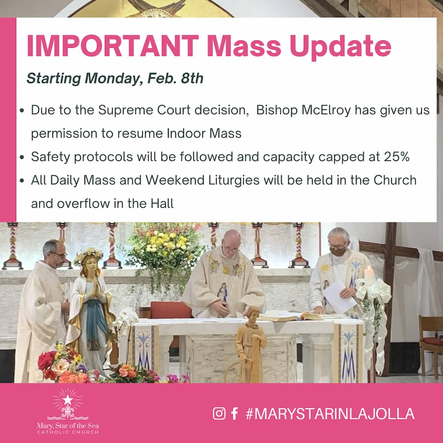 Indoor Mass Resumes Monday, February 8th 2021
